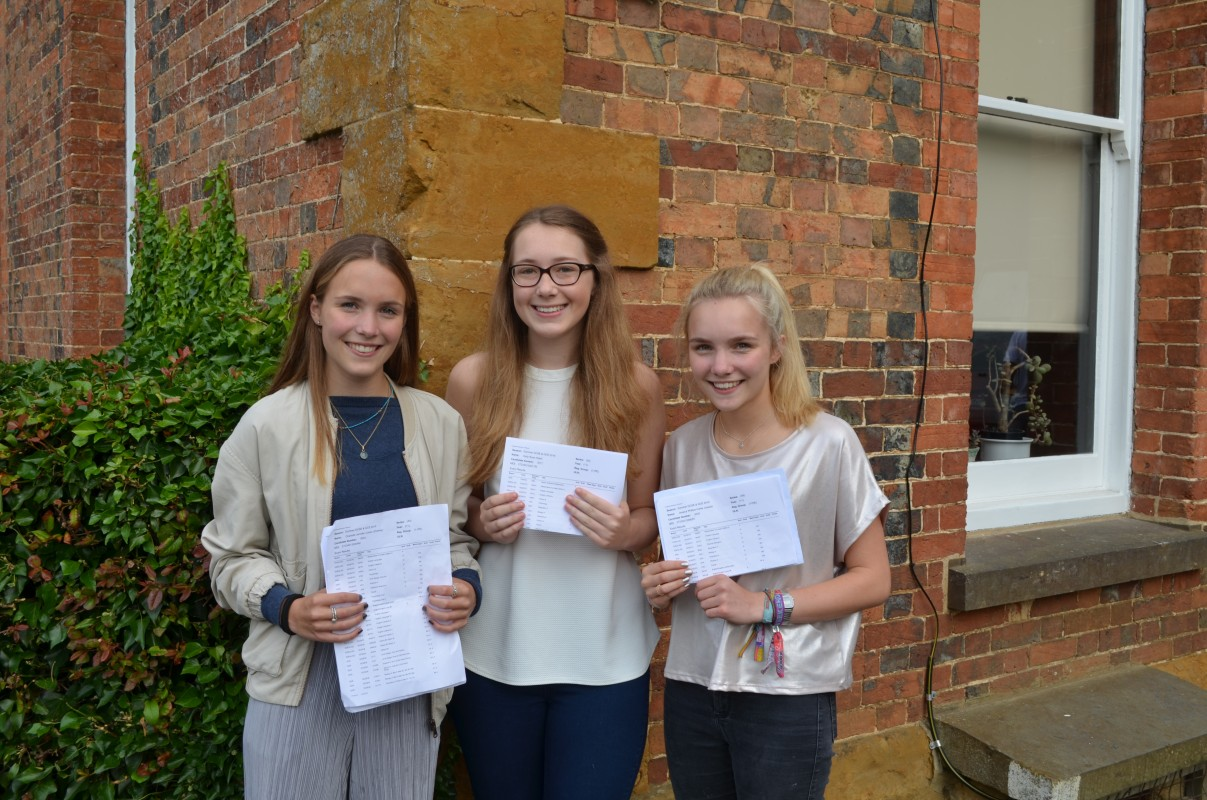 Students with GSCE results at Quinton House Grammar School, Northamptonshire