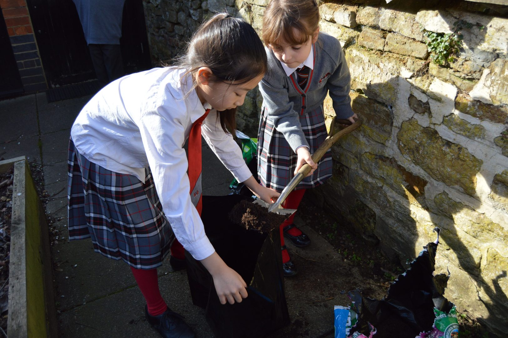 QHS pupils digging and planting compost