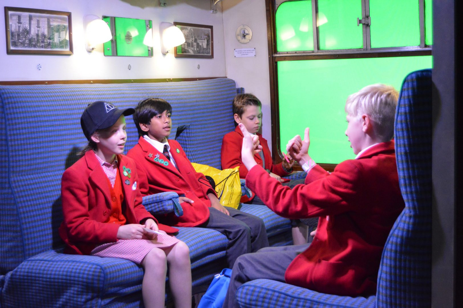 QHS pupils conversing at the museum