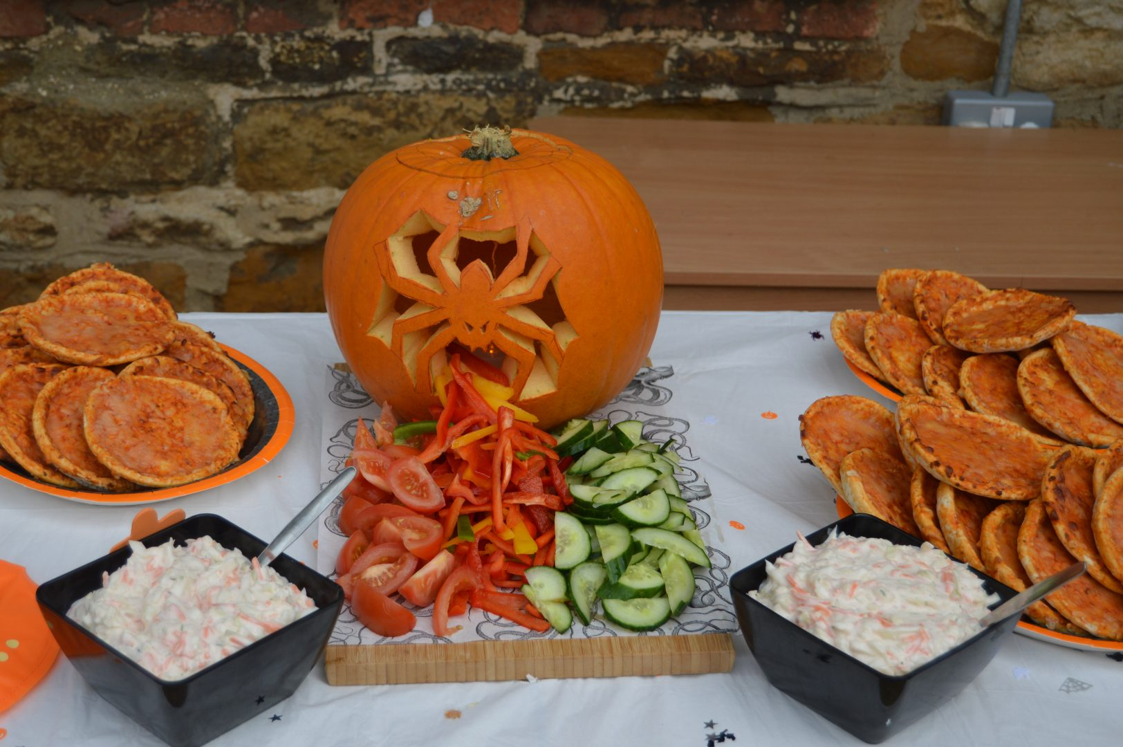 Display of Pumpkins and Salad