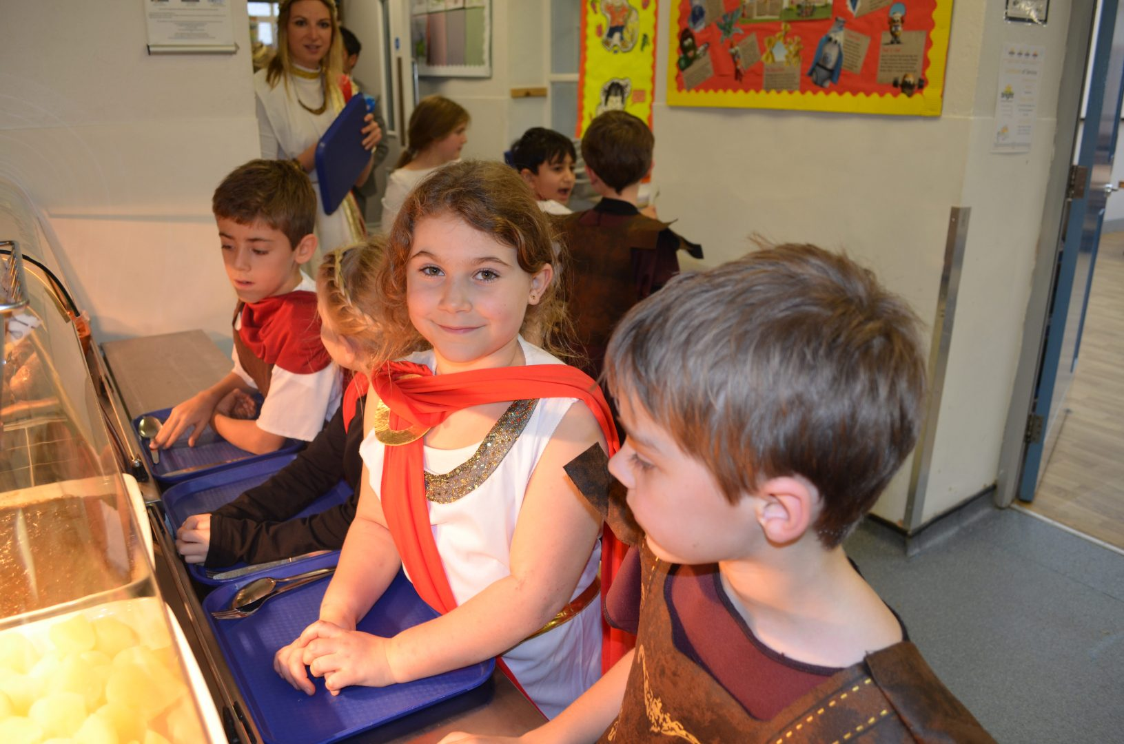 QHS pupils enjoy lunch for Roman Day