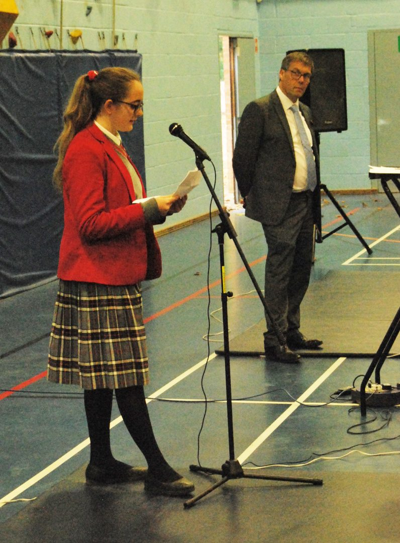 QHS Senior pupil reads speech