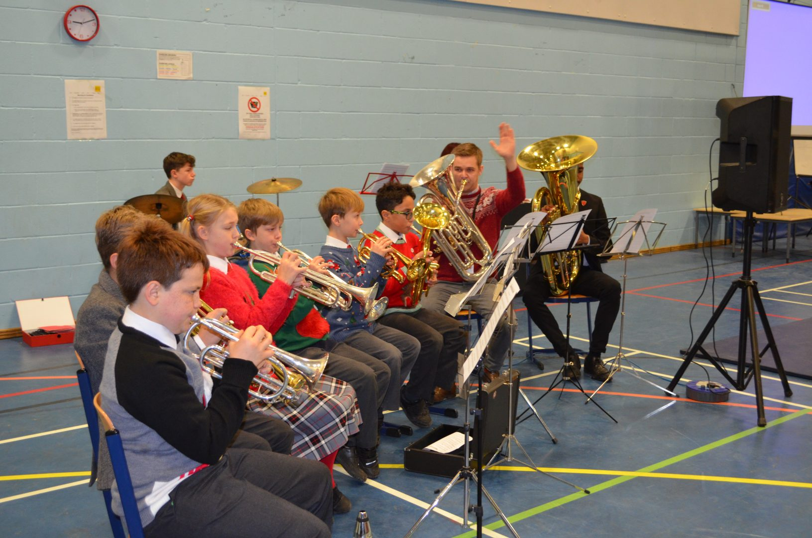 QHS pupils playing the trumpet