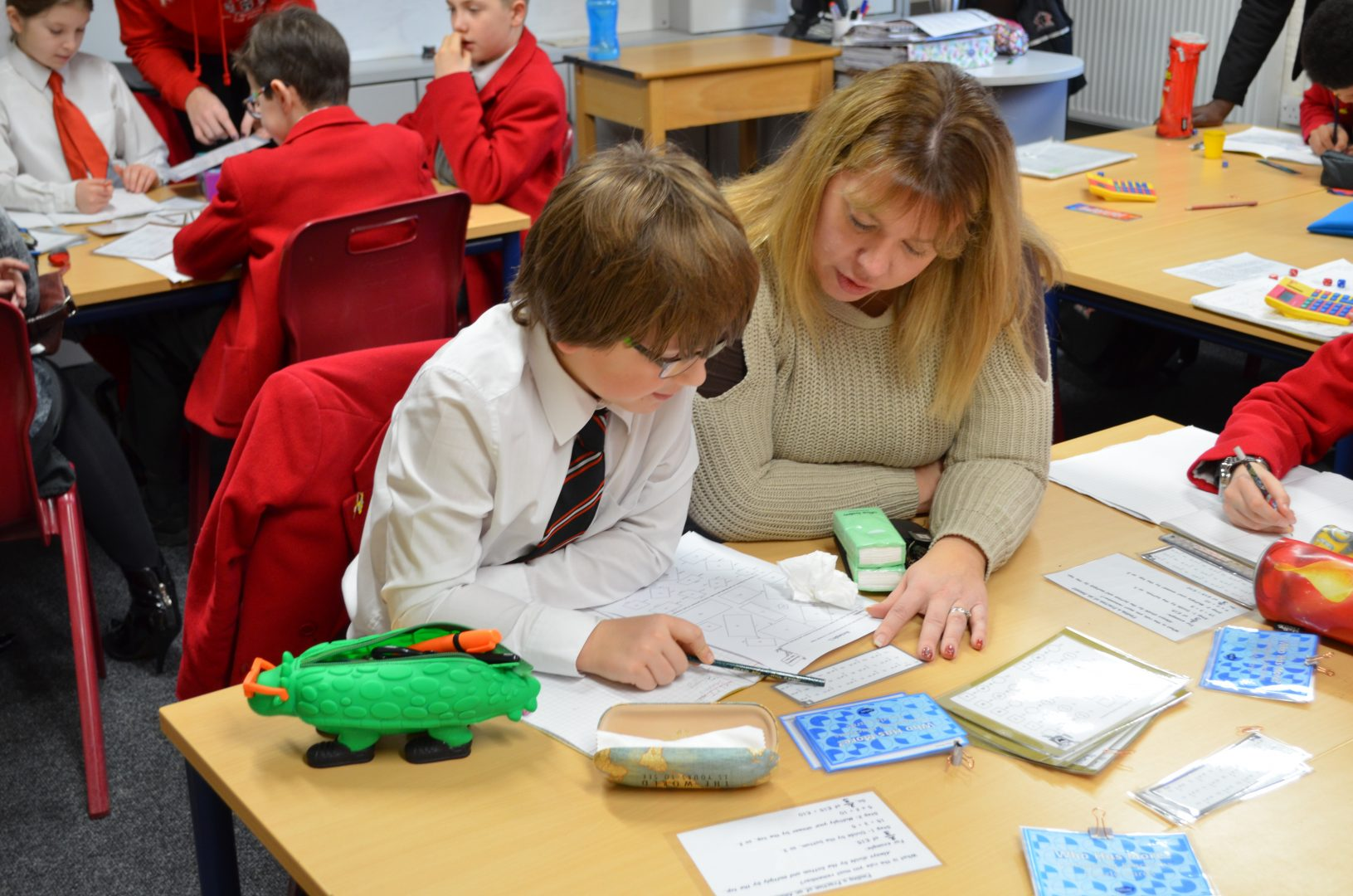 Quinton pupil interacting with teacher in class session