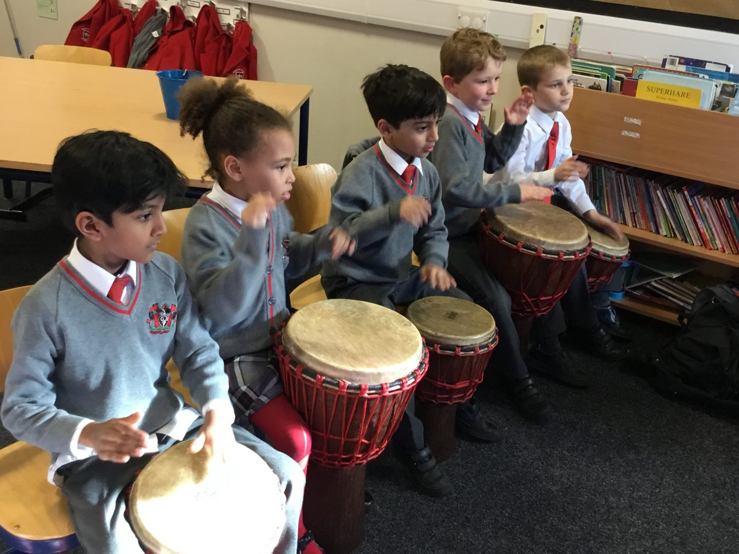 QHS pupils enjoy playing the drums